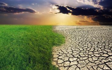 عکس زمین سبز در حال تبدیل به کویر خشک