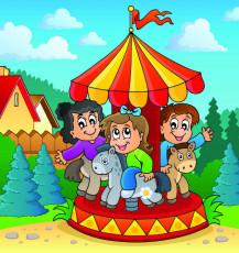 تصویر وکتور بازی بچه ها در پارک