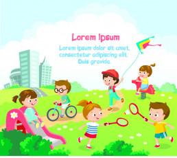 تصویر وکتور بازی بچه ها در زمین بازی