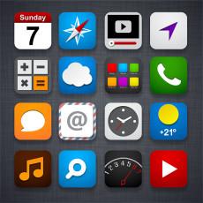 تصویر وکتور آیکون برای طراحی برنامه های موبایل