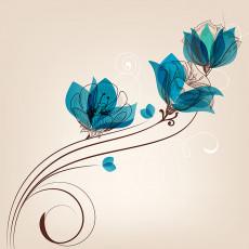 تصویر وکتور یک شاخه گل آبی