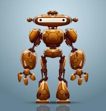 تصویر وکتور ربات قهوه ای