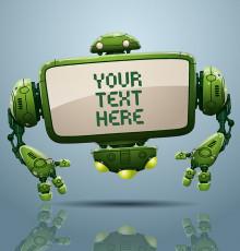 تصویر وکتور ربات سبز