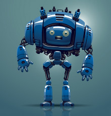 تصویر وکتور ربات دیجیتالی آبی