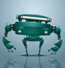 تصویر وکتور ربات دیجیتال سبز