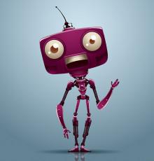 تصویر وکتور ربات بنفش