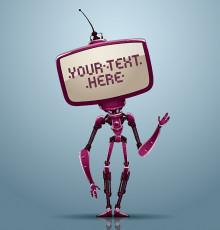 تصویر وکتور ربات دیجیتالی بنفش