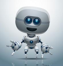 تصویر وکتور ربات دیجیتالی سفید