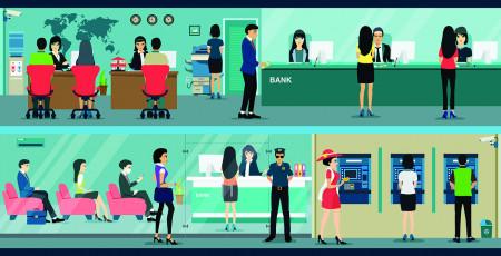 تصویر وکتور کارمندان بانک و مشتریان