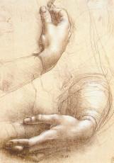 تابلوی نقاشی مطالعه دستها اثر لئوناردو داوینچی