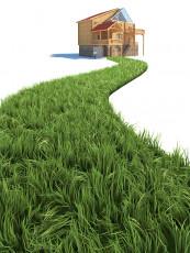 عکس گرافیکی خانه و راه سبز