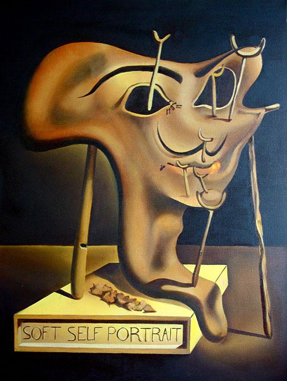 تابلوی نقاشی پرتره نرم با بیکن سرخ شده اثر سالوادور دالی