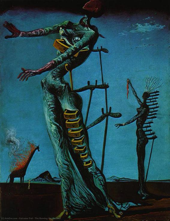 تابلوی نقاشی زرافه ای در حال سوختن اثر سالوادور دالی