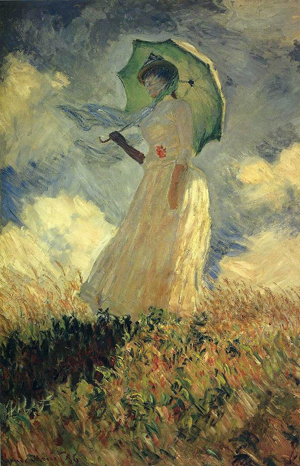 تابلو نقاشی زنی با چتر روی تپه آفتابی اثر کلود مونه