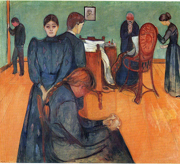 تابلوی نقاشی مرگ در اتاق بیمار اثر ادوارد مونک