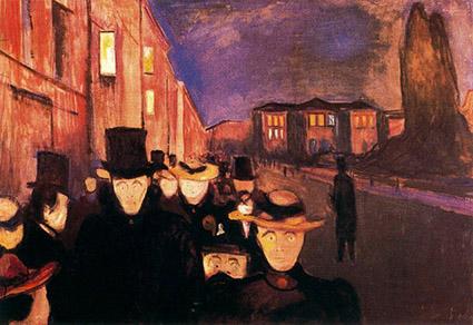 تابلوی نقاشی بعد از ظهر در خیابان کارل جوهان اثر ادوارد مونک