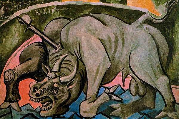 تابلوی نقاشی گاو در حال مرگ اثر پابلو پیکاسو