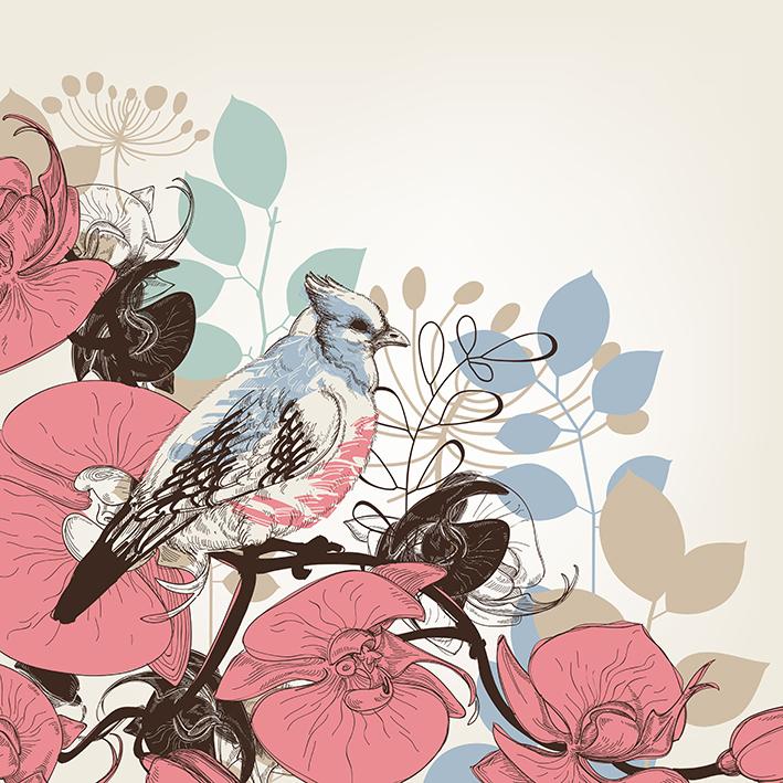 تصویر وکتور پرنده و گل